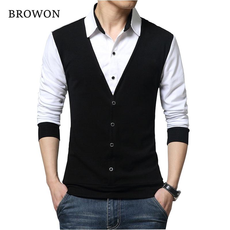 BROWON Brand Autumn Mens T Shirts Fashion 2020 Fake Two Designer Clothing Cool T-shirt Men Long Sleeve T Shirt Casual Male