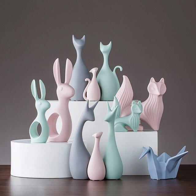. US  18 9 14  OFF Nordic Animal Ornaments Figurines Home Decoration Crafts  Livingroom Desktop Modern Pink White Ceramic Deer Rabbit Wedding Gifts in