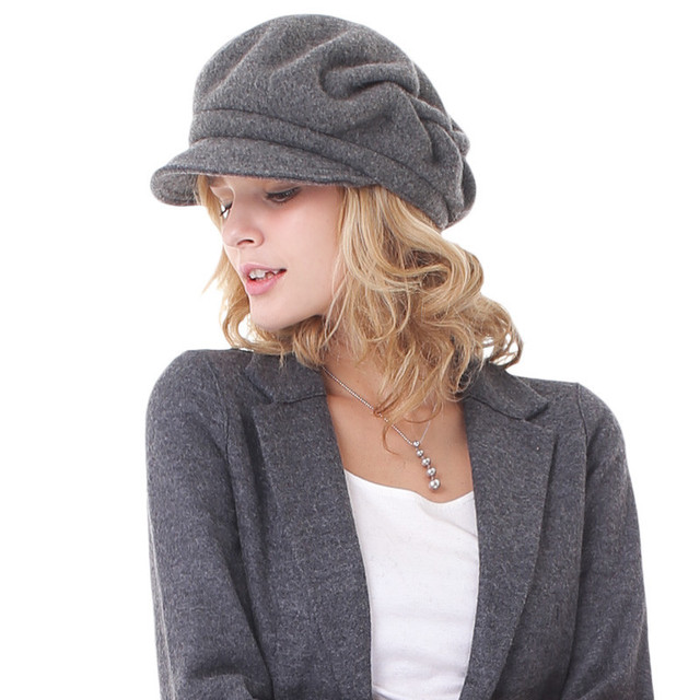 0cdc70bd157 Autumn Warm Winter Hat Lady Wool Peaked Cap Fashion Leisure Travel New Hat  Adult Woolen Warm Cap Students Beret Hat B-7303