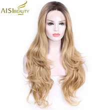 AISI BEAUTY Long Wavy Lace Front Synthetic Wigs Hand Tied Light Blonde Natural Glueless Black Red Heat Resistant Hair Women