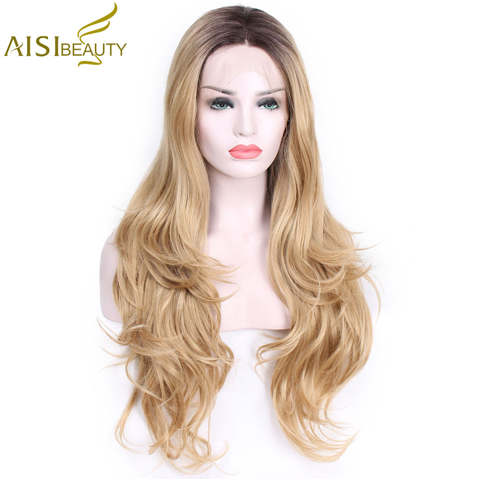 AISI BEAUTY Long Wavy Lace Front Synthetic Wigs Hand Tied Light Blond Natural Long Straight Glueless Heat Resistant Hair Women
