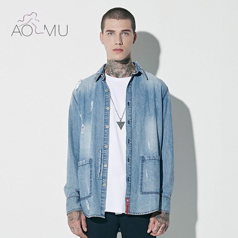 Aliexpress.com : Buy AOMU 2017 Men Denim Jacket Casual Slim Fit ...