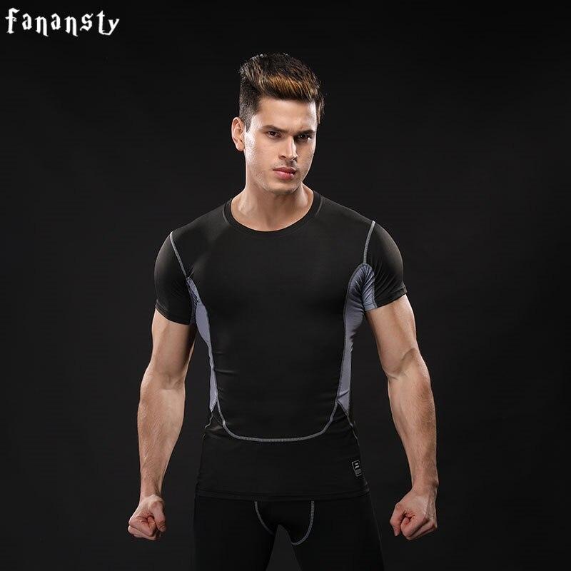 b52f4ccefa Camisa de compressão Homens Fitness camisa Running T-shirt Dos Homens Camisa  Ginásio de Esportes Jogging Treinamento Camisetas 2017 New Manga Curta