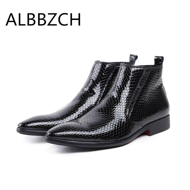 Spitz Luxus Fashin Design Patent Hohe Business Leder Marke Herren Kleid Arbeit Stiefel Büro Schuhe Männer Garde Black Stiefeletten Mann qzgwzdrx