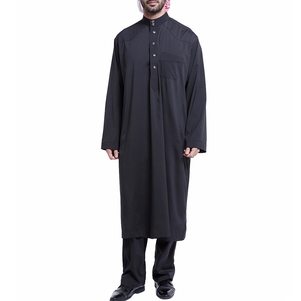 Men Solid Color Long Sleeves Thobe Arab Muslim Wear with Pants -MX8