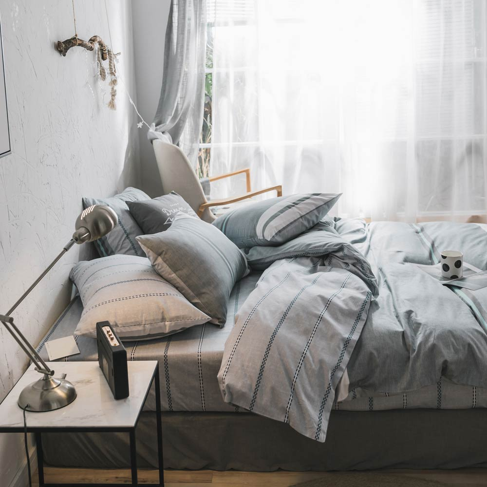 PAPA MIMA Gray bedding sets combing cotton twin double queen size duvet cover set bed sheet Pillowcase stripe bedclothes set in Bedding Sets from Home Garden