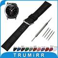 20mm cocodrilo banda de reloj del cuero genuino para samsung gear s2 clásico R732/R735 Inoxidable Hebilla de Cinturón de Correa de Muñeca pulsera