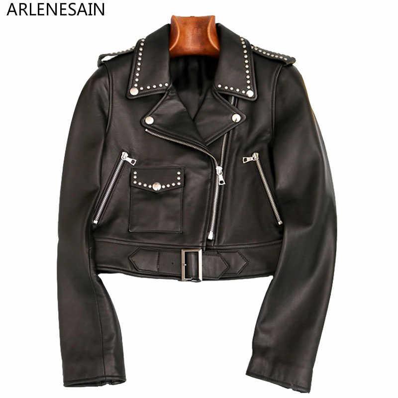Cuir Geniune Mesdames Noir Dames Slim En Femmes Arlenesain Personnalisé Vêtements Moto Rivet Court Veste 6xqwFHt4E