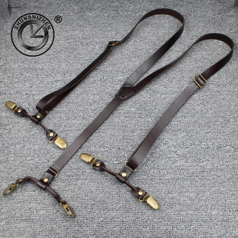 Fashion Top Grain Leather Suspenders Commercial Western-style Trousers Man's Braces Strap