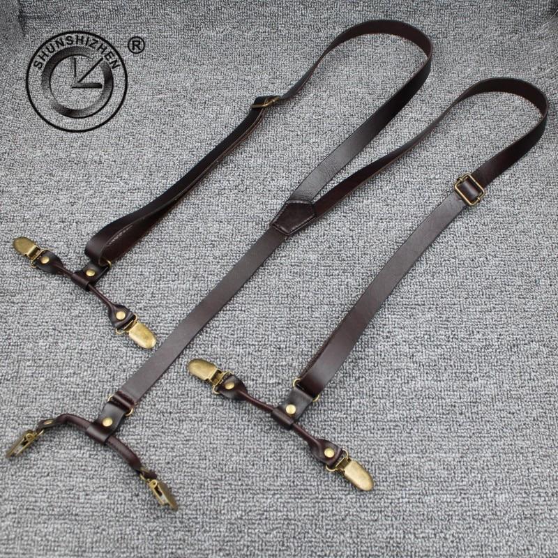 Bretelles en cuir Grain pour hommes   Pantalon en style occidental commercial, à la mode, bretelles