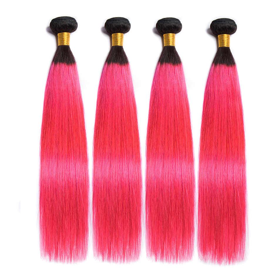 ALIBELE 1B розовые пучки волос от светлого до темного цвета с закрытием Remy бразильские человеческие пучки волос 3 4 прямые пучки волос с закрытием