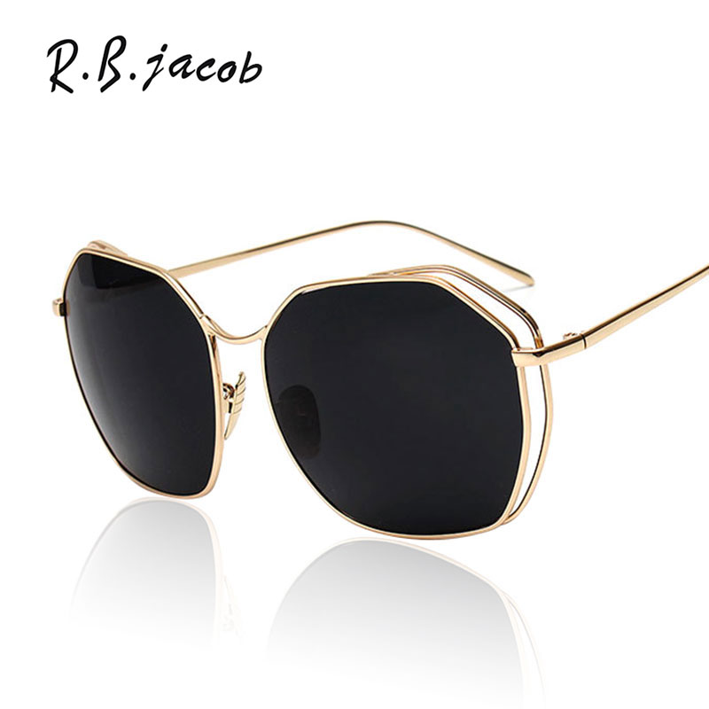 2017 New Oversizd Polygon Glasses Brand Designer Mirror Sunglasses Women Lady Female Shades Rose Gold High Quality Sun Glasses