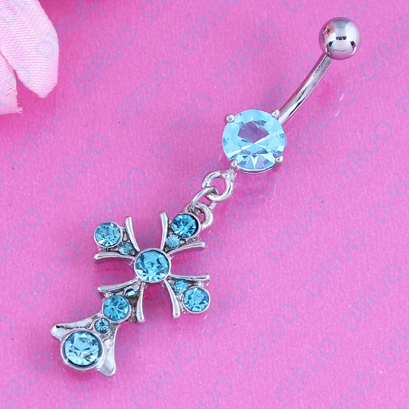 Us 1 59 20 Off Free Shipping Cross Belly Ring Stud Navel Bar Body Piercing Jewelry Belly Button Rings 316l Surgical Steel 14g On Aliexpress Com