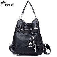 2018 Women Leather Backpack Large Multifunction Shoulders Travel Bag Fashion Soft Back Backpacks School Bags For
