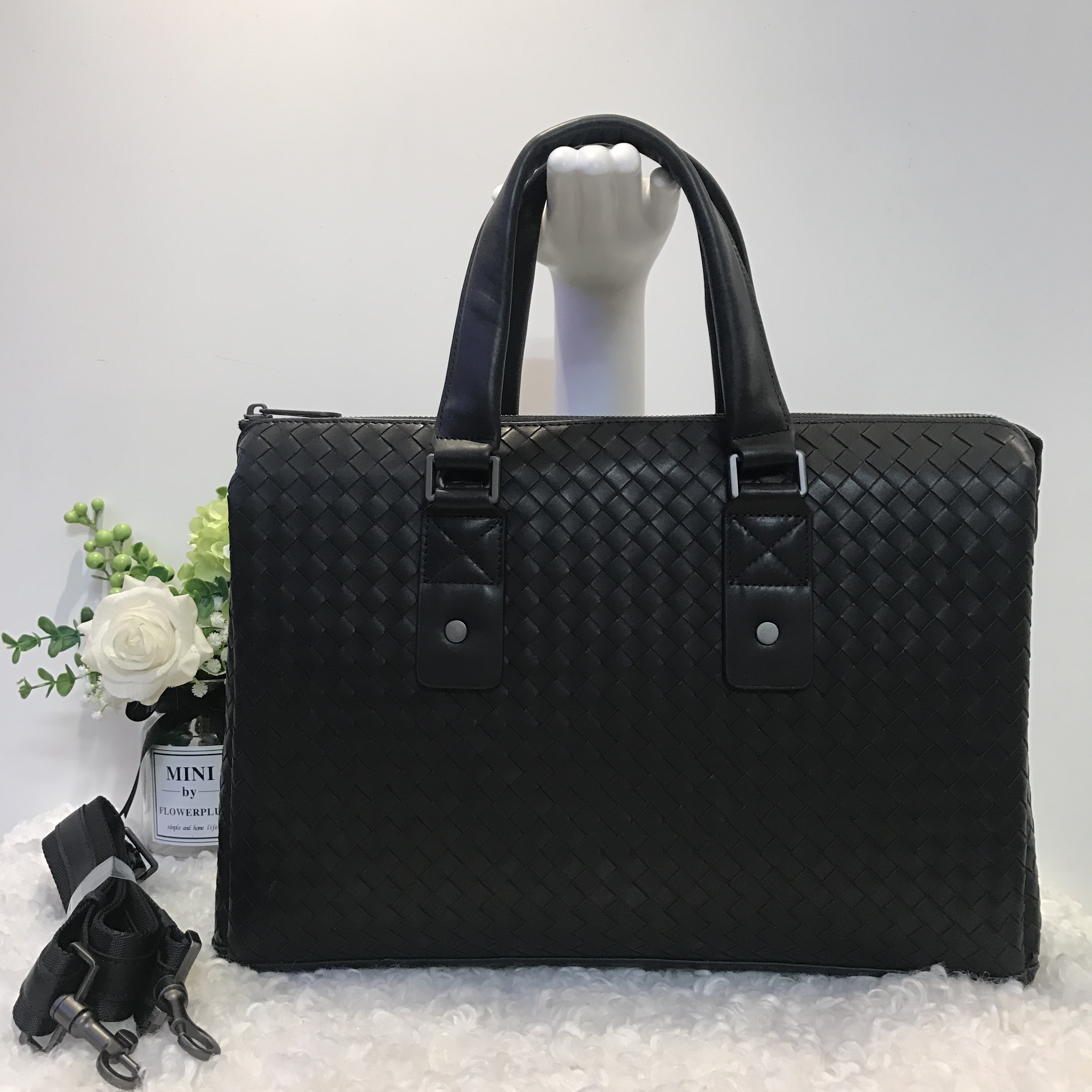 2019 NEW Male Leather Bags Men Briefcase Leather Lawyer Briefcase Cowhide File Pack Weave Computer Package Business Affairs