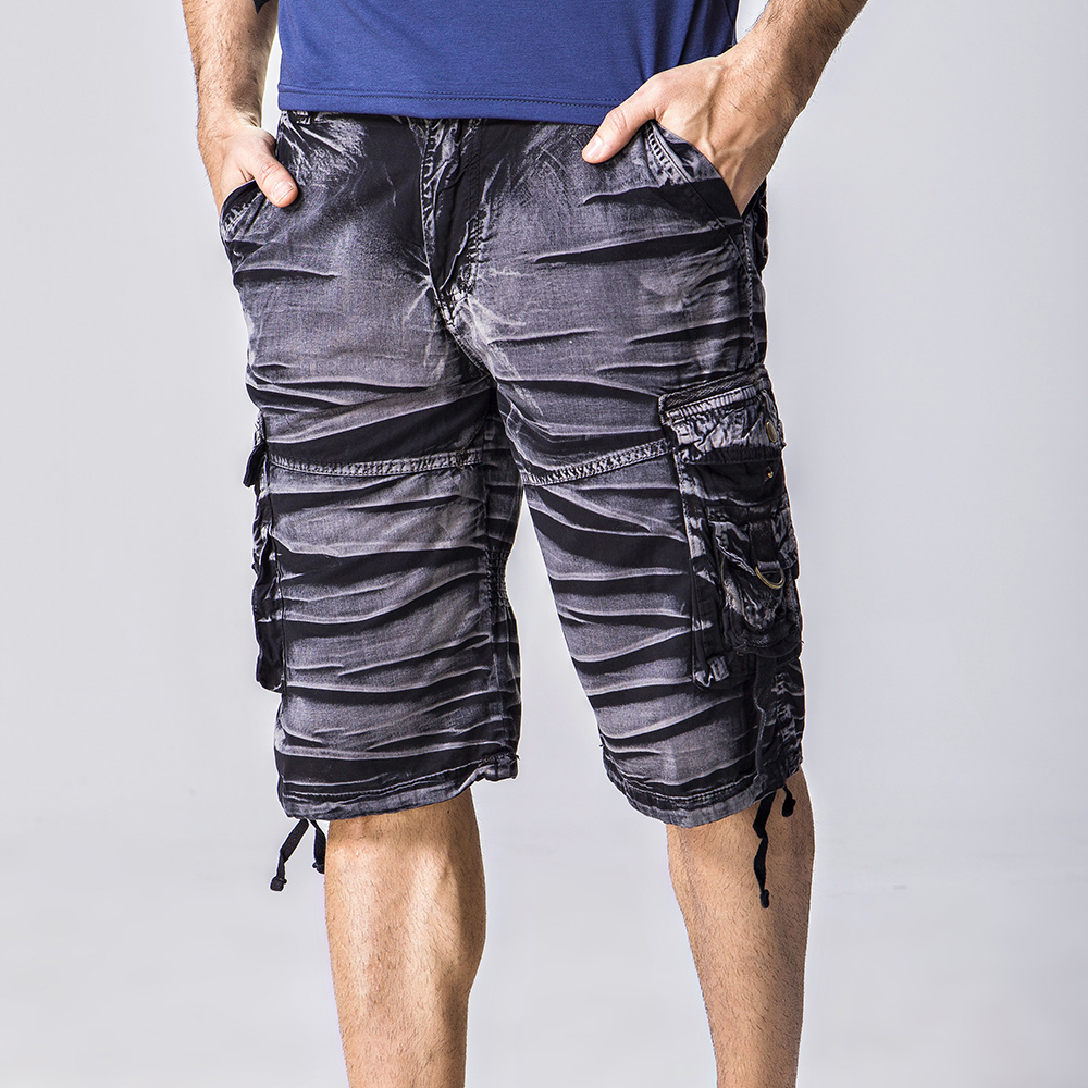 2018 new summer men's multi-pocket loose camouflage shorts cotton casual military shorts knee length straight Beach Shorts men