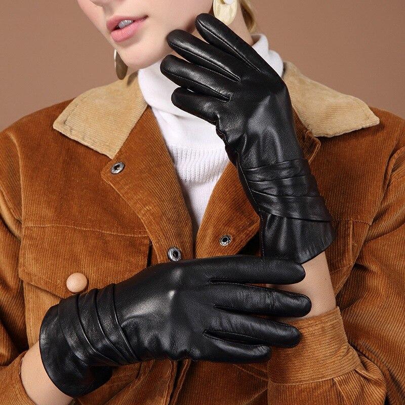 Image 5 - Женские перчатки из натуральной кожи, черные перчатки из овчины с пятью пальцами, зимние толстые теплые модные митенки, новинка, BW015Женские перчатки    АлиЭкспресс
