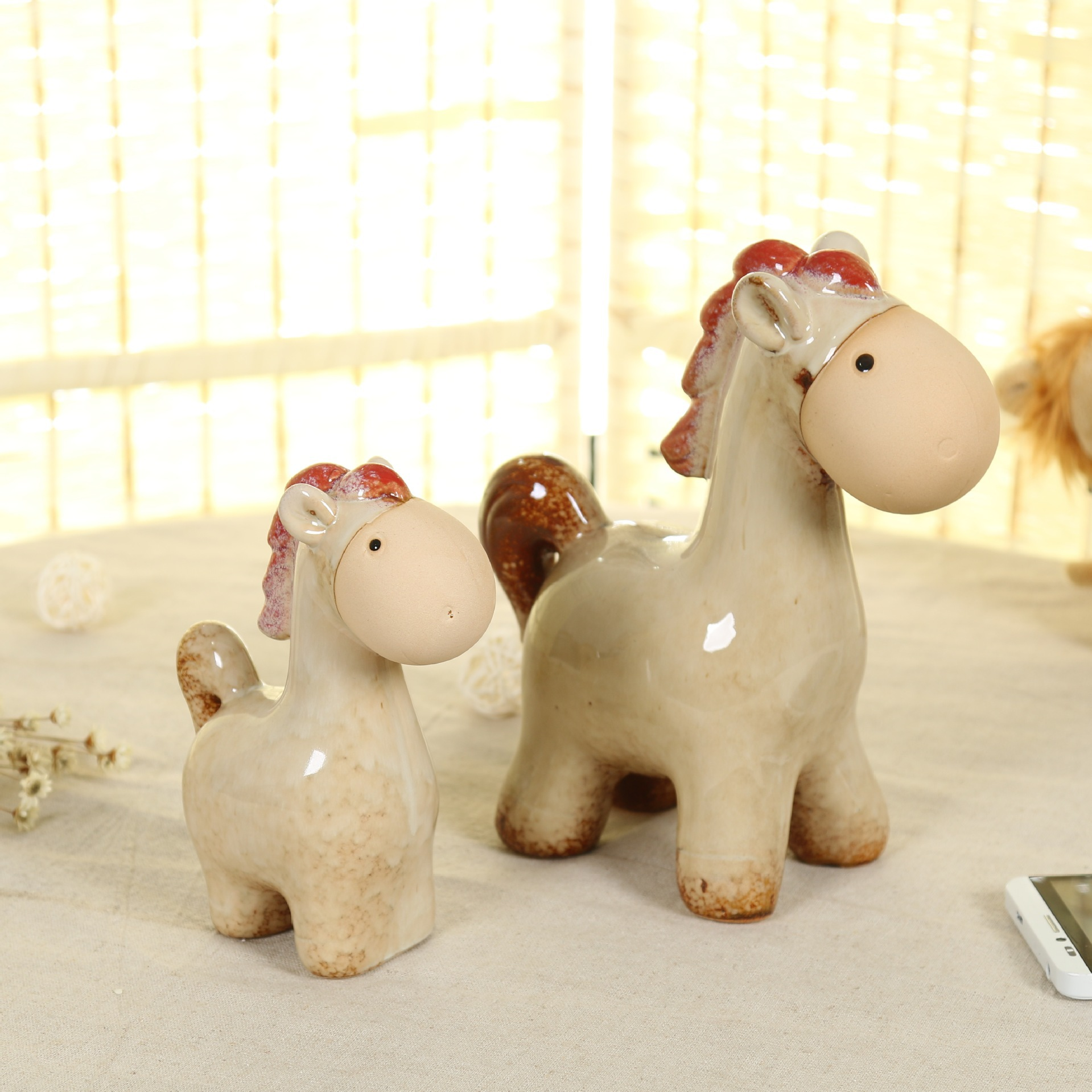 Creative ceramic ornament crafts porcelain Mini horse set Desktop/ home decoration ornaments Birthday gift Christmas present