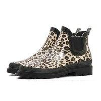 PVC Ankle Rain Boots Women Female Waterproof Leopard Print Rainboots Water Shoes Wedges Heel Woman Martin Snow Boots HS436