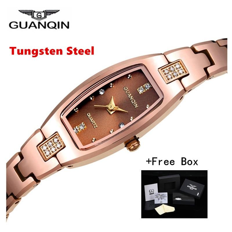 GUANQIN Bracelet Watches Tungsten Dress Rectangle Ladies Fashion Luxury Brand Quartz