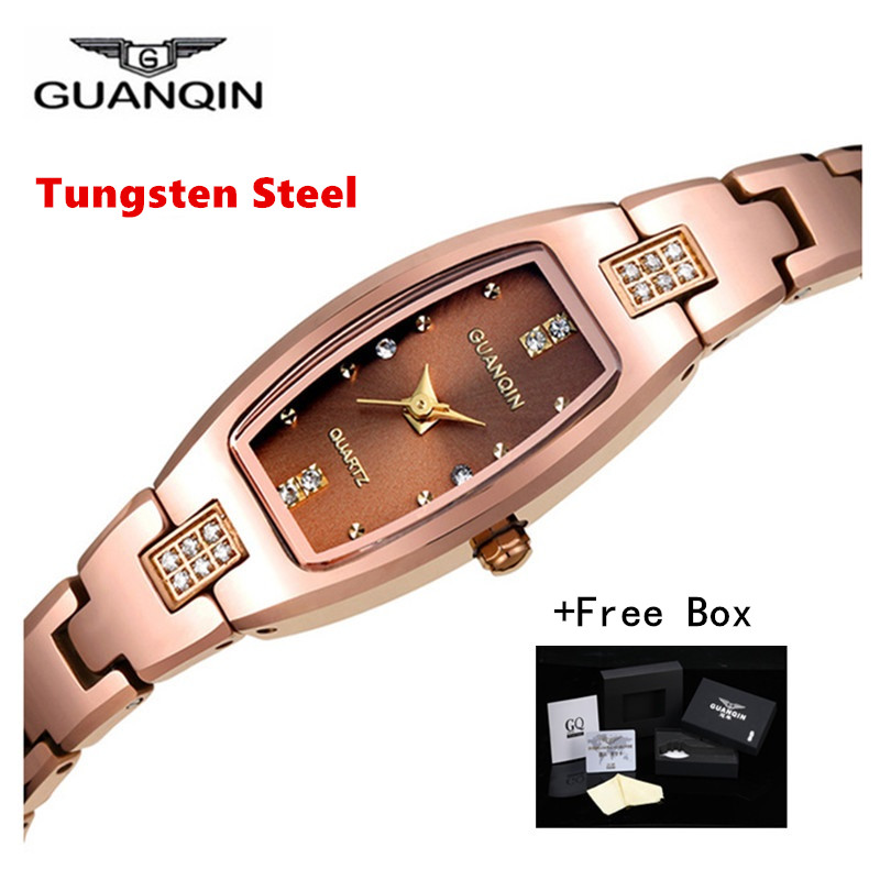 Luxury Brand GUANQIN Women Watch Dress Rectangle Tungsten Steel Quartz-watch Ladies Fashion Bracelet Watches Relogio Feminino