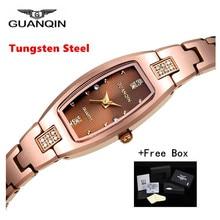 Luxury Brand GUANQIN Women Watch Dress Rectangle Tungsten Steel Quartz-watch Ladies Fashion Bracelet Watches relogio feminino