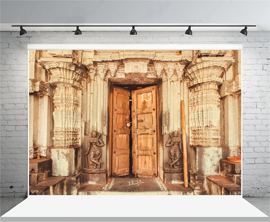 Laeacco Indian Traditional Temple Pillars Wooden Door Photography Backgrounds Vinyl Custom