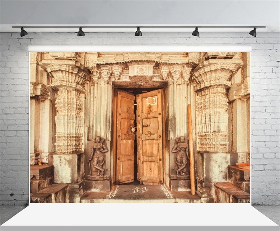 laeacco indian traditional temple pillars wooden door