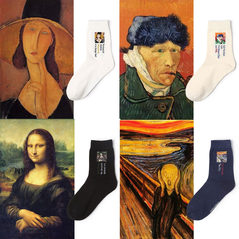 CHAOZHU 2018 Spring Cotton Art Oil Painting Van Gogh Mona Lisa Socks Creative Idea 200 Needles Combed Cotton Sock Fashion Summer ...