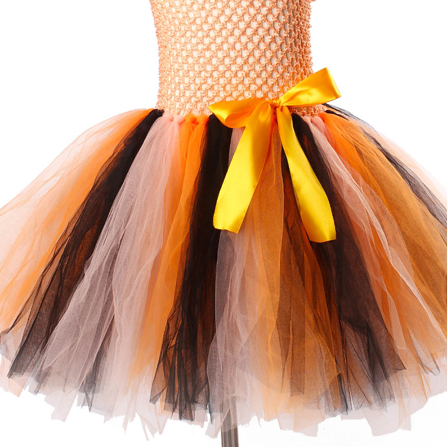 Girls Halloween Carnival Party Tutu Dress Kids Evil Witch Costume Photo Prop with Witch Hat  (13)