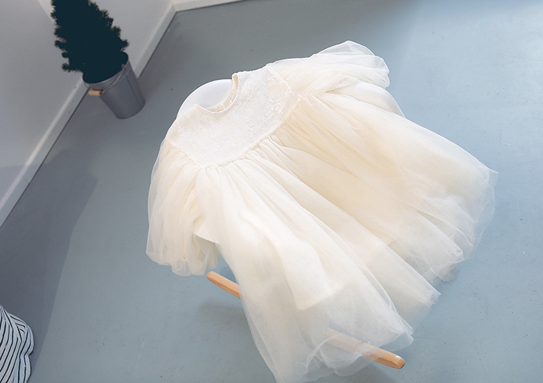 Princess Infant Baby Layers Tulle Girls Mori Dress With Vintage Lantern Sleeve Party Wedding Fancy Clothes