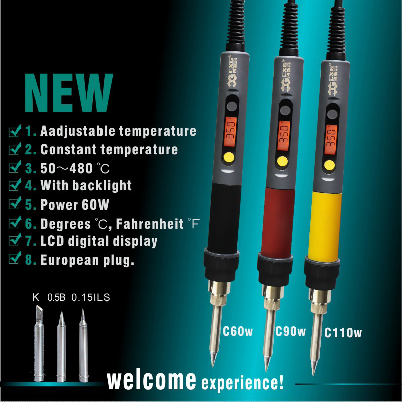 <font><b>CXG</b></font> C60W/C90W/<font><b>C110W</b></font> Solder Iron LCD Adjustable Temperature NCT Digital Display Electric Soldering Irons EU Plug Power Swtich image