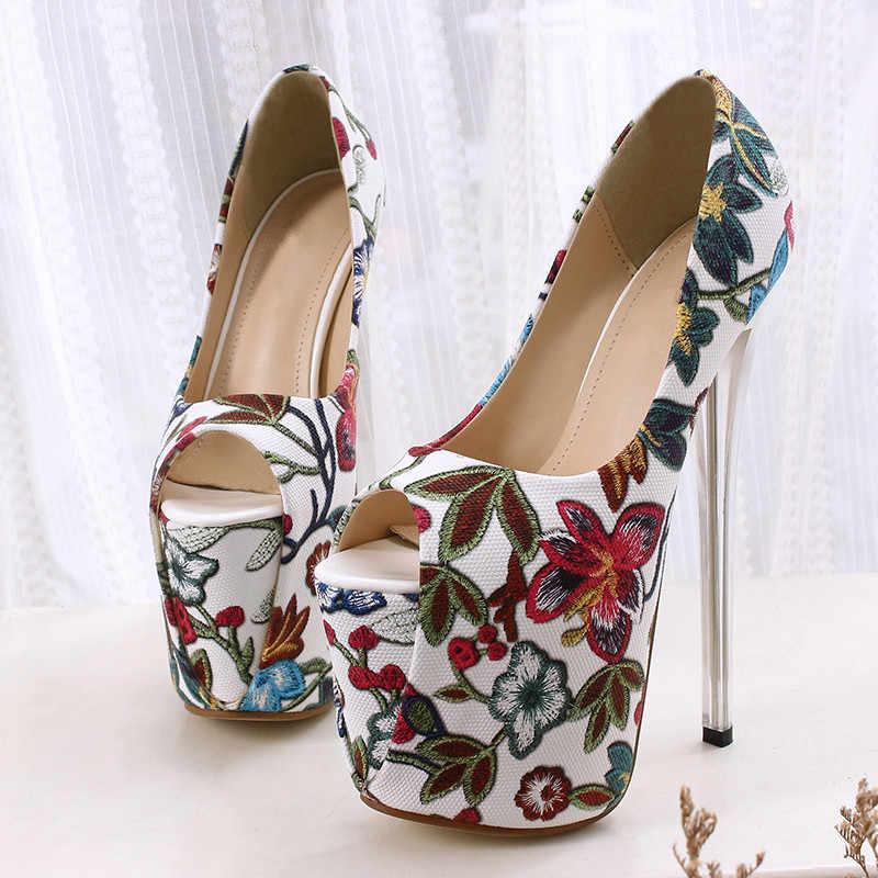 34--43 รองเท้า Peep Toe ดอกไม้รองเท้าส้นสูง 19 ซม.แพลตฟอร์มหญิงปั๊มพิมพ์หนังเลดี้เซ็กซี่งานแต่งงานรองเท้า MC-77