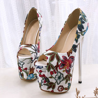 34 43 Women Shoes Peep Toe Flowers High Heels 19cm with Platform Female Pumps Print Leather Lady Sexy Party Wedding Shoes MC 77