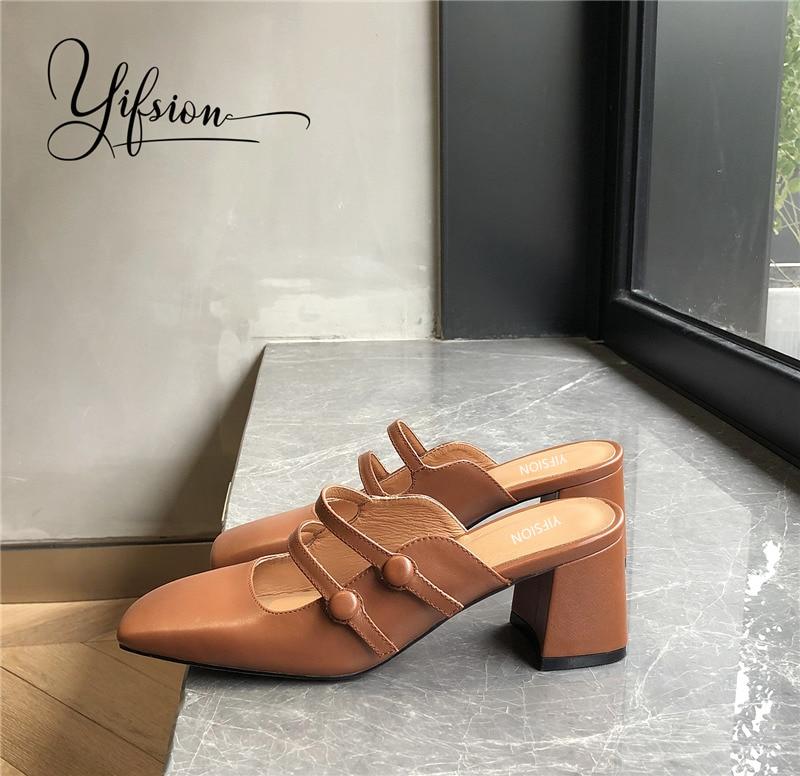 Neue Frau Echtem Yifsion as Pic As Sommer Maultiere Leder Frühling Frauen Hausschuhe Karree Starke Ferse Schuhe Pic Ywttpd
