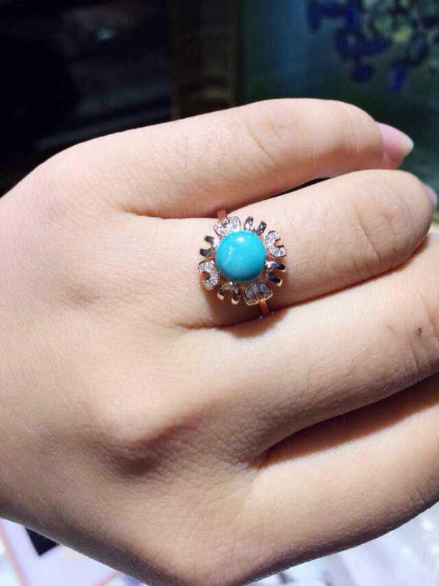 Natural green turquoise Ring Natural gemstone Ring 925 sterling silver trendy Elegant sunflower women's party fine Jewelry trendy fuax turquoise carved rounded rechtangle ring