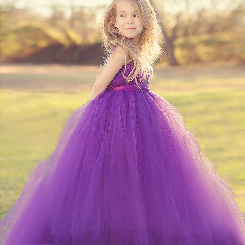 Girls Maxi Dress Wedding Bow Voile Princess Party Clothes Baby ...