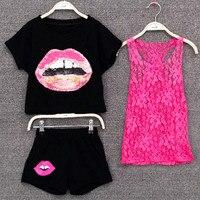 Girls Clothing Set Children Summer Clothes 3pcs Set Shirt Pants Lace Vest Kids Girl Clothing Sport
