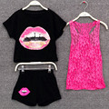 Girls clothing set Children summer clothes 3pcs set shirt pants lace vest kids girl clothing sport suit Mother and daughter sets