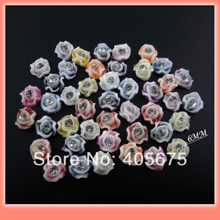 ᐃMNS338 3d rhinestones di arte del chiodo Rose flower design 6 MM ... d0659f1e1c4