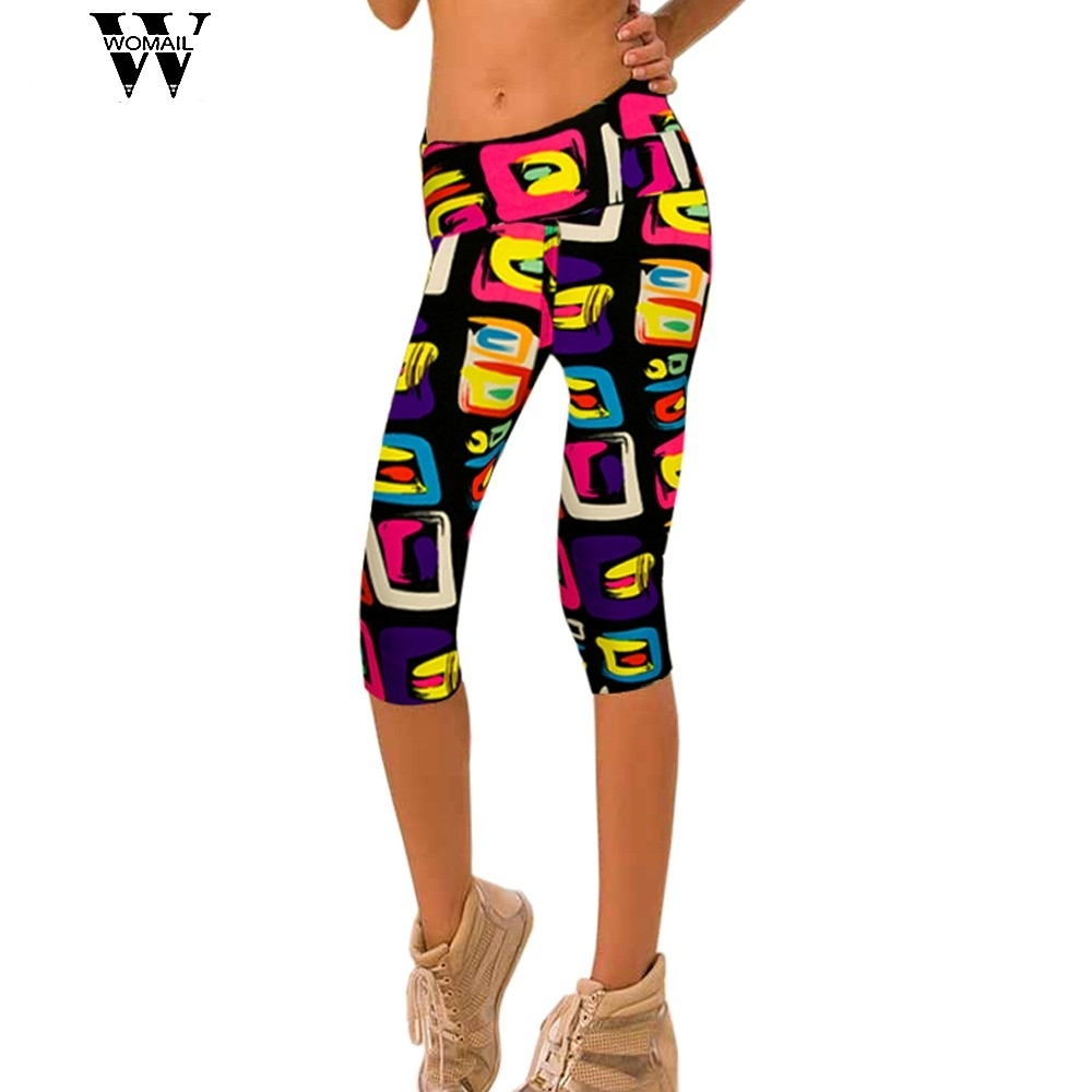 WOMAIL delicate drop ship Womens Wonderful best Pants Printed Stretch Cropped Leggings W35