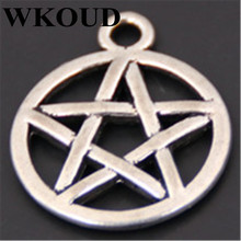 WKOUD 10pcs Antique Silver Wicca Pentacle star of david Charms Pendant Metal Bracelet Necklace Jewelry Findings