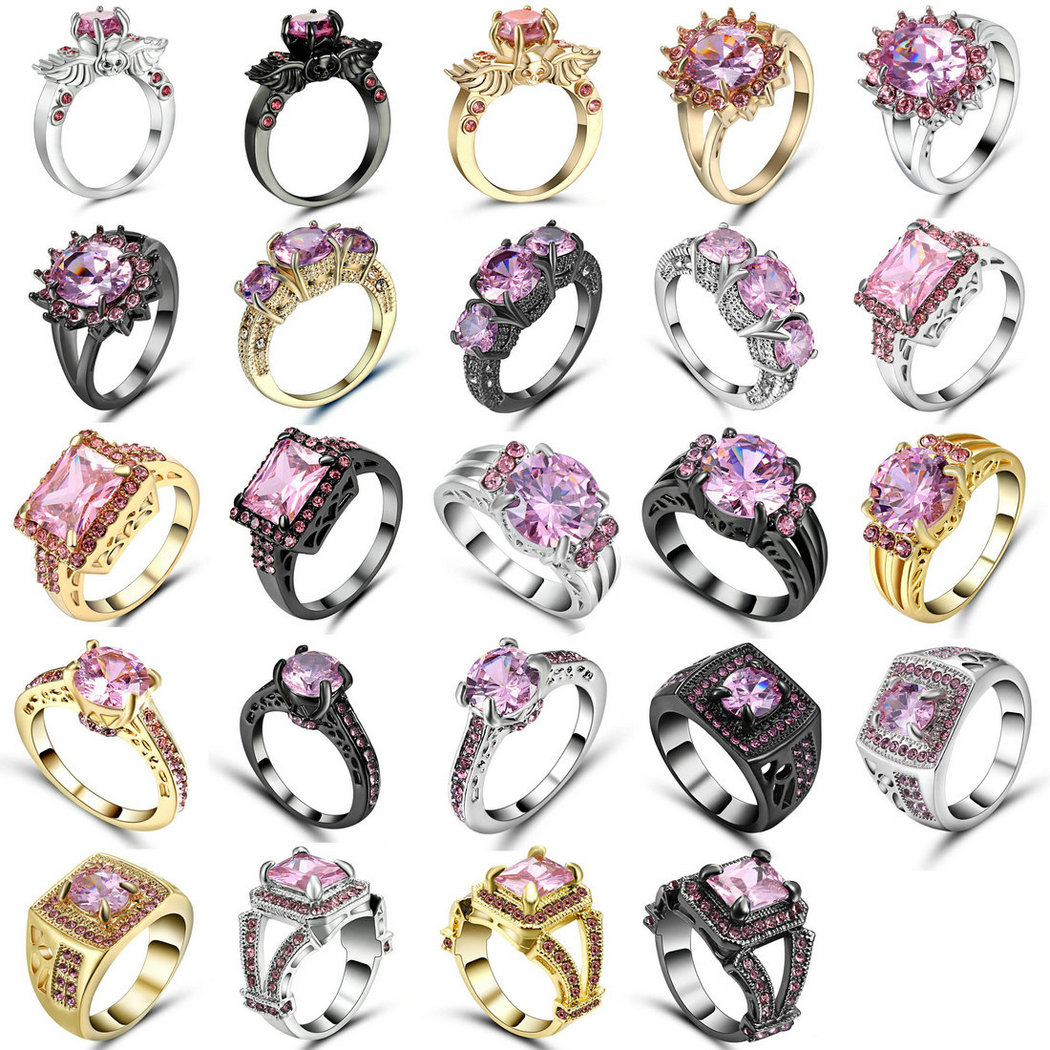 Romantic Gold Silver Black colour Pink Crystal Infinity Loves
