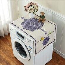 Retro European Printed Floral Washing Machine Refrigerator Dust Cover with Storage Pocket  Linen Cloth Craft 1pcs/lot AQ160