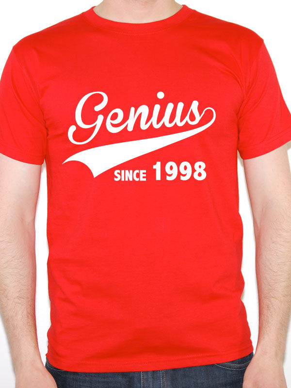 Unusual T Shirts Crew Neck Short Sleeve Christmas Mens Genius Since 1998 Birth Year Birthday Gift Novelty Shirt
