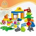 Minitudou Duplo Bloques Compatibles 63 UNIDS Zoo Animal Set Figuras Juguetes Educativos Clásicos Gran Edificio de Ladrillo Para Los Niños