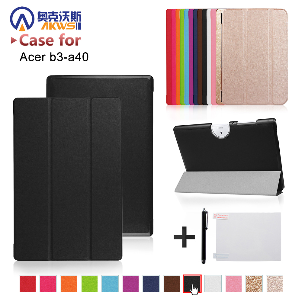 cover case For Acer Iconia One 10 B3-A40 2017 release 10 tablet folio PU leather stand protective cover skin+free gift slim print case for acer iconia tab 10 a3 a40 one 10 b3 a30 10 1 inch tablet pu leather case folding stand cover screen film pen