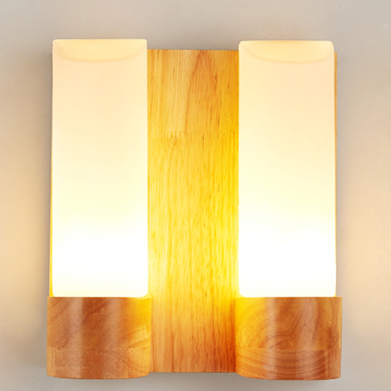 Art bedside wooden wall lamp balcony square-fashion brief solid wood&glass aisle wall lighting+led 110v 220v bulbs Free shipping modern style wooden led wall lamp 220v bed room bedside wall light natural solid wood frosted glass foyer study home decoration
