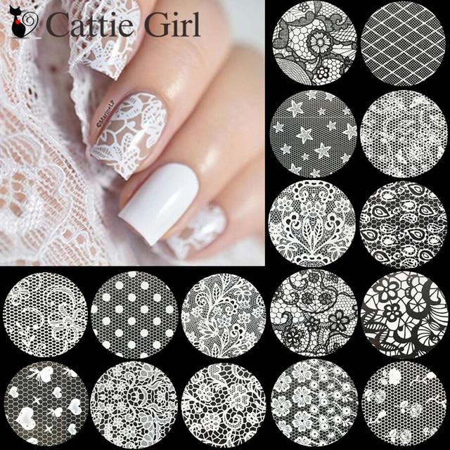 16 rollos de pegatinas de papel de hoja de uñas negro blanco encaje flores diseño manicura cielo estrellado arte transferencia de papel uñas arte calcomanías