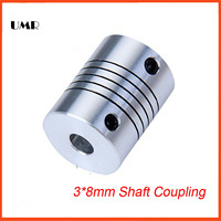3pcs 3mm X 8mm D18 L25 CNC Stepper Motor Shaft Coupler Flexible Coupling 3x8mm